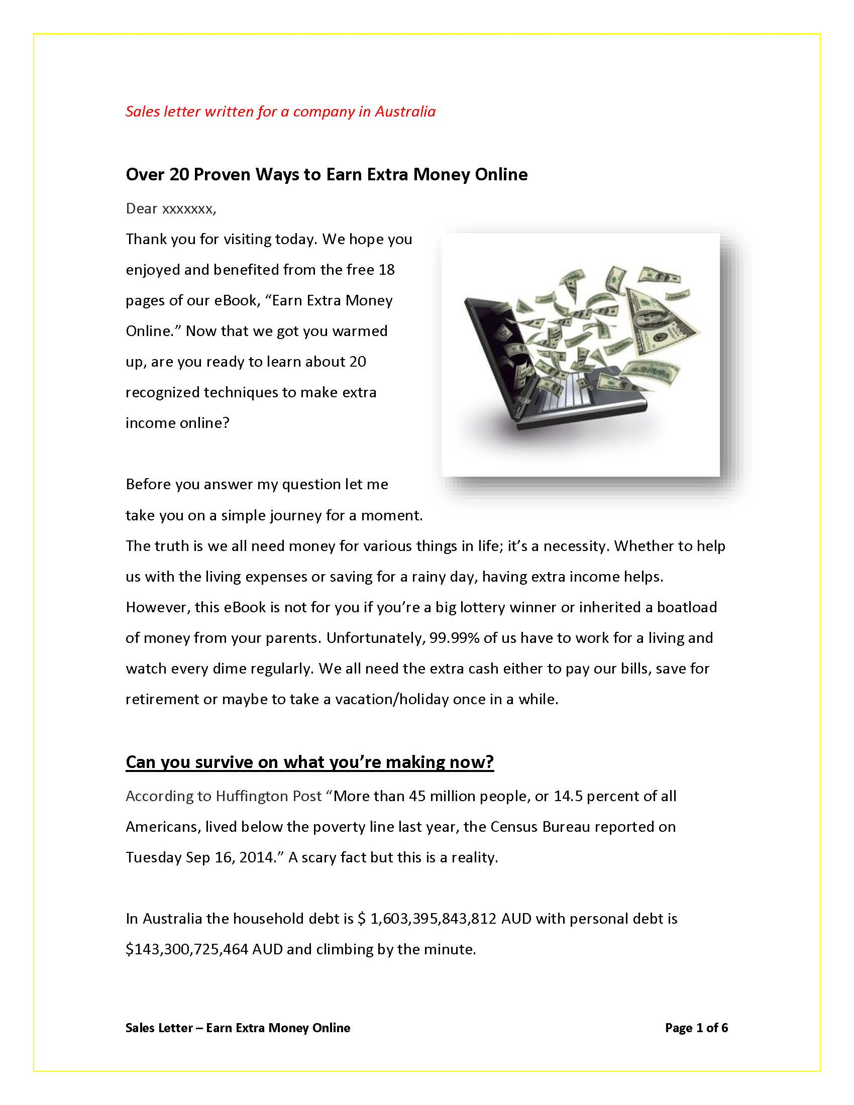 Sales Letter How To Earn Money Online_page_1 Sales Letters Grovers  Copywriting